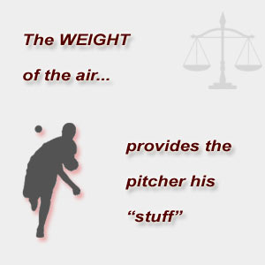 The weight of the air, provides the pitcher his 'stuff'